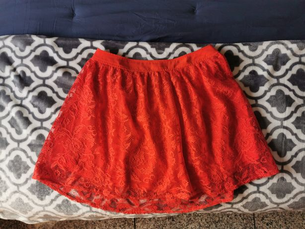 Saia renda laranja/coral