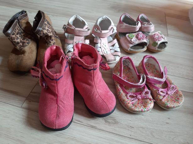 Zestaw 5 par butów, sandały, kozaczki, botki, baleriny. Rozm. 21 i 22.