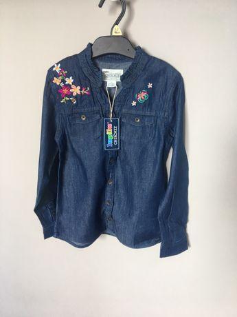 Джинсовая рубашка с вышивкой цветы 5-6 лет, 116 лет, cherokee