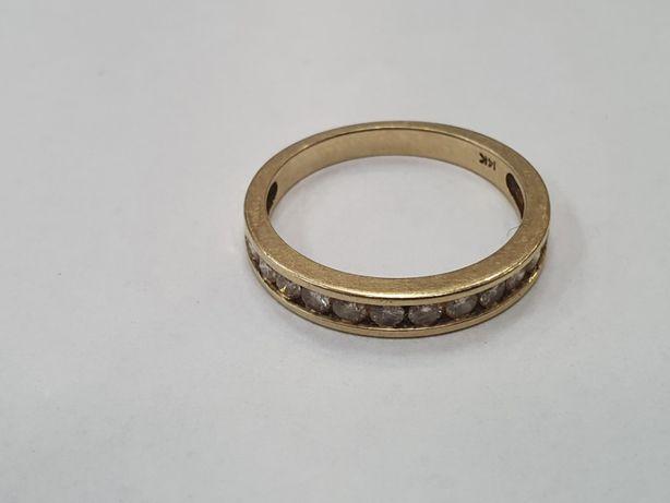 12 brylantów! Piękny złoty pierścionek damski/ Obrączka/ 585/ 2.6g/ 14