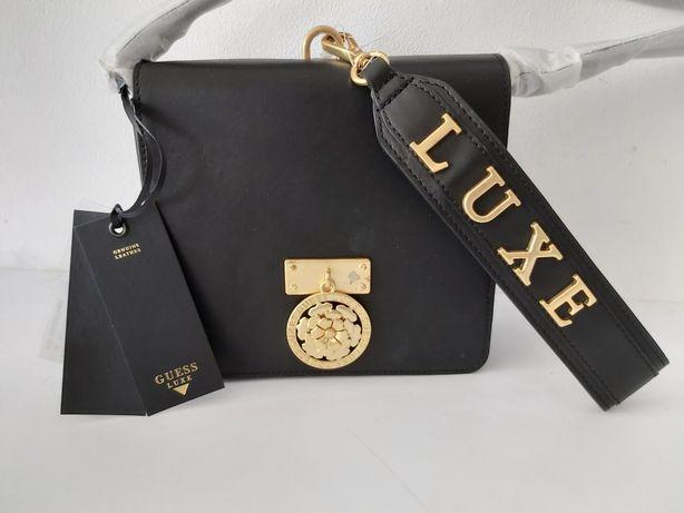 Nowa torebka kuferek GUESS luxe skóra naturalna listonoszka czarna