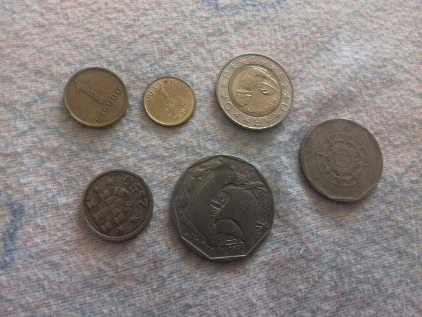 Moedas escudo e euro