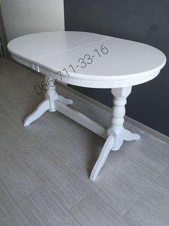 Деревянный стол КАРПАТЫ. Белый кухонный стол. Овальный слоновая кость.