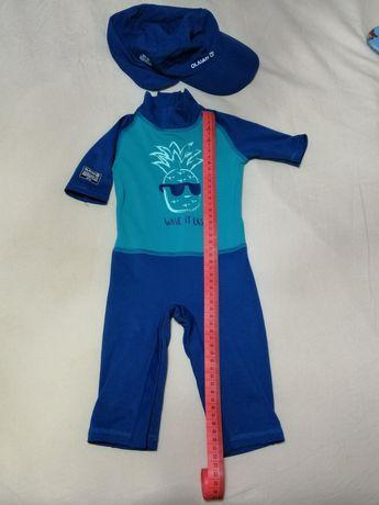 Komplet kombinezon + czapka dla dzieci do pływania Decathlon Olaian UV