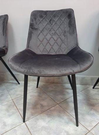 Krzesło krzesła tapicerowane pikowane szary welur velvet nowe Ymir