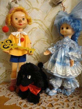 ЛОТ! Кукла Буратино, Мальвина и мягкая игрушка пудель Артемон