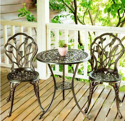 Zestaw meble ogrodowe balkonowe tarasowe żeliwne STÓŁ + 2 KRZESŁA