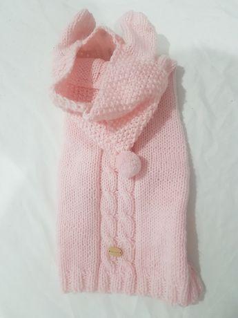 Sweterek dla małego pieska, ręcznie szyty, rozmiar M, pudrowy róż.