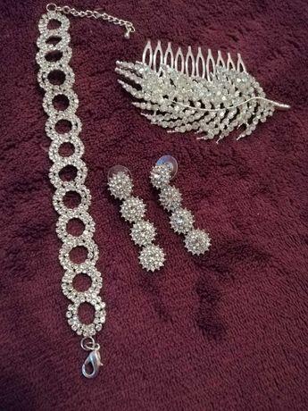 Biżuteria srebrna ślubna + ozdoba do włosów