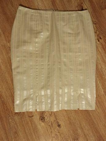 Kostium z podszewka marynarka żakiet spódnica francuski 40 srebrny beż
