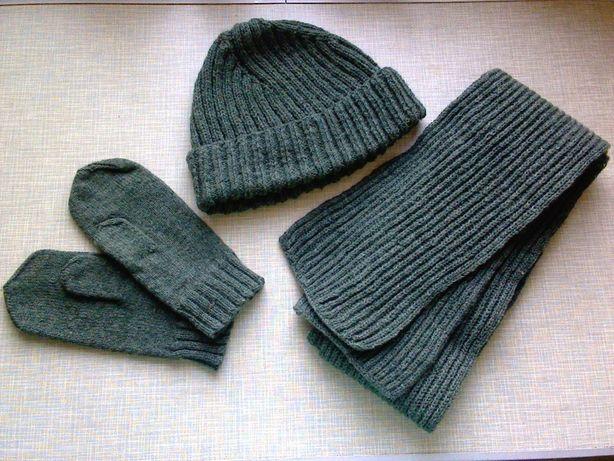 Шапка + шарф + варежки (набор) шерстяные, вязаные (зеленые, болотные)