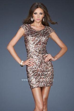 Sukienka mini Shail K. cekiny nowa złoto brąz jedwab xxs 32 xs