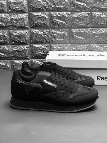 Reebok Classic All Black Ядовито чёрные кроссовки Рибок классик Наложк