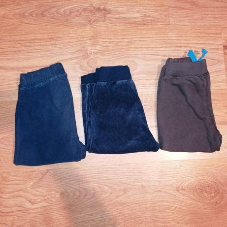 Spodnie dresowe polarowe welurowe Topomini H&M zestaw 3 szt. r. 92