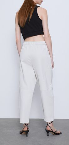 Zara spodnie ze sztucznej skóry złamana biel