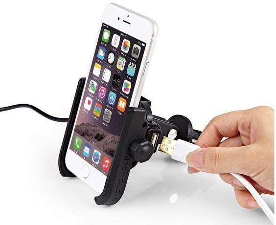 Motocyklowy UCHWYT NA Telefon Smartfon MOTOWOLF + USB