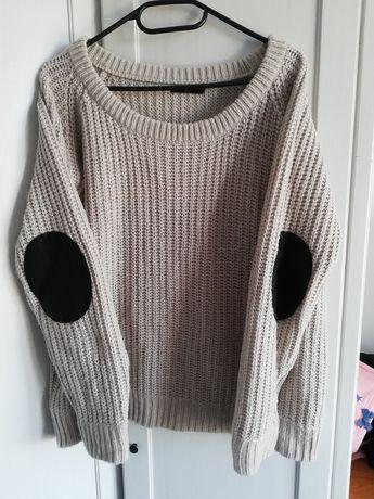 Ciepły szary sweter swetr roz. 40 L 42 XL