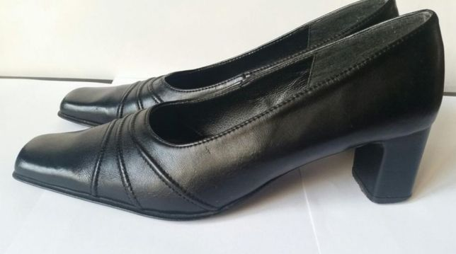 Jak NOWE SKÓRKOWE buty na wysokim obcasie gruby obcas OKAZJA!!! czarne