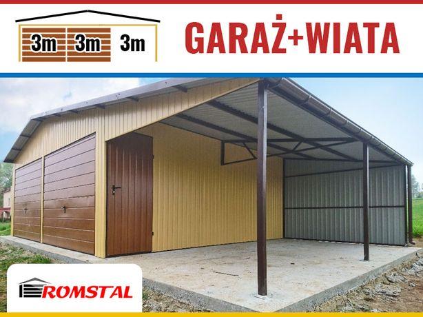 RomStal - Garaż Blaszany DwuStanowiskowy wraz z zadaszeniem - magazyn