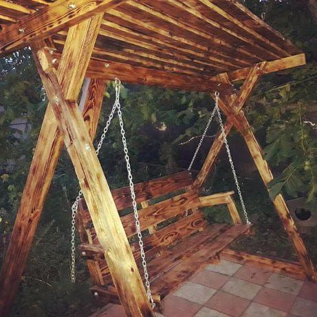 Садовые деревянные качели дубовые
