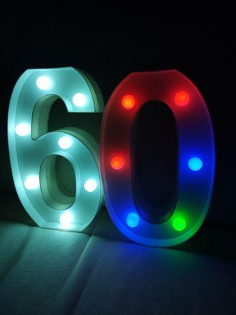 Świecąca cyfra liczba urodzinowa dziewięćdziesiąt sześćdziesiąt lampka