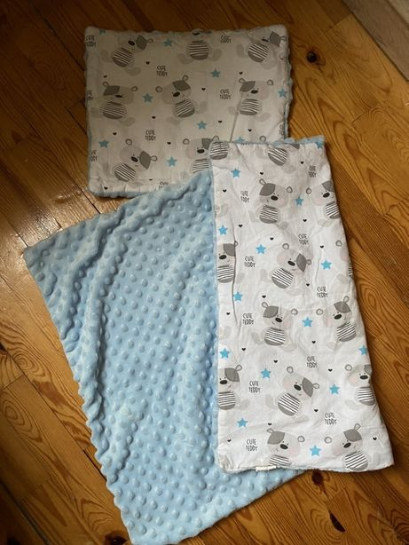 Zestaw do wozka - kocyk + poduszka minky bawełna