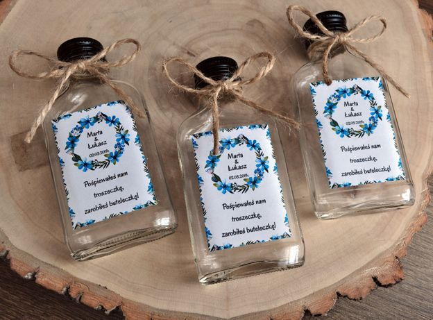 Piersiówki buteleczki dla gości podziękowania na ślub wesele
