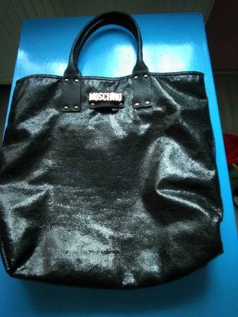 Duża czarna torebka moschino + srebrna Nowa