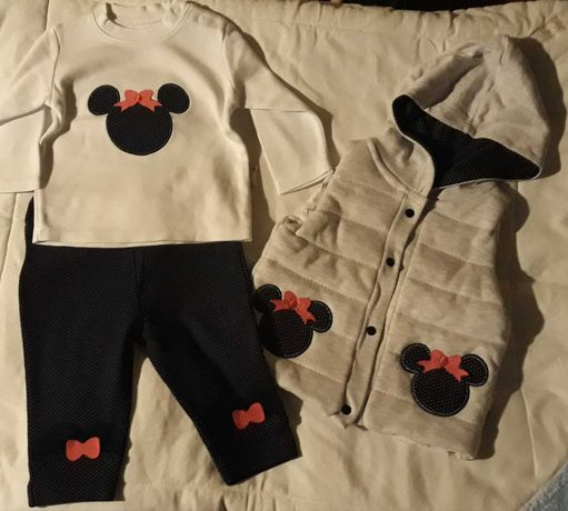 Ubranko dla dziewczynki 68/74 (bluzeczka, spodenki, bezrękawnik)