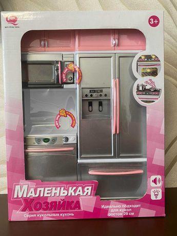 Маленькая хозяйка кухня для куклы микроволновая печь холодильник