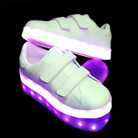 Кроссовки светящиеся детские White H2 фирма Pliwama Хорошего качества