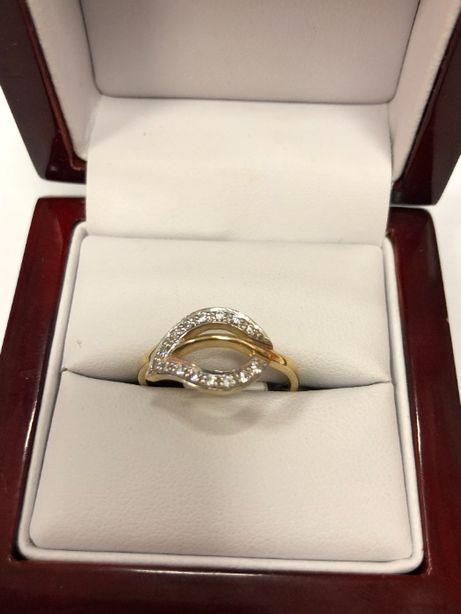 niepowtarzalny złoty pierścionek p585 r20 2,93g