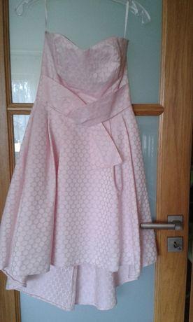 sukienka asymetryczna różowa - wesele , bal,