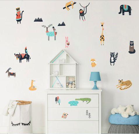 Интерьерные Наклейки Стикеры на стены в детскую -Животные -