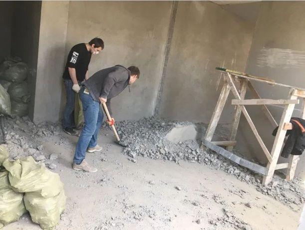 Демонтаж и вывоз мусора. Демонтаж штукатурки, стен, полов.