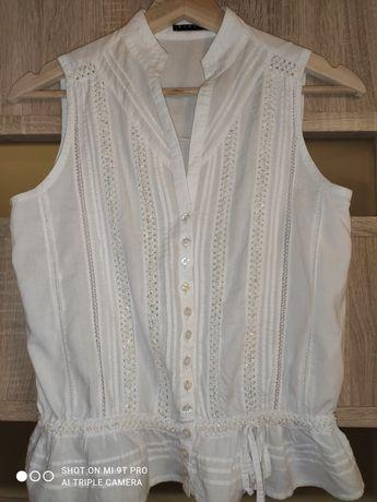 Biała zdobiona bluzka Sisley XS