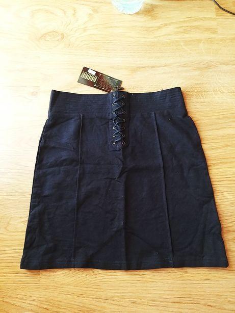 wiązana ołówkowa granatowa nowa spódnica dopasowana s 36 bandażowa hit