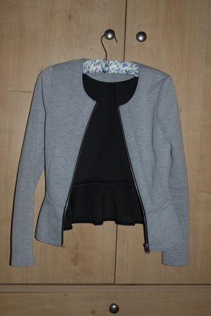 Siwy, dresowy żakiet z baskinką na zamek, rozm.34, H&M