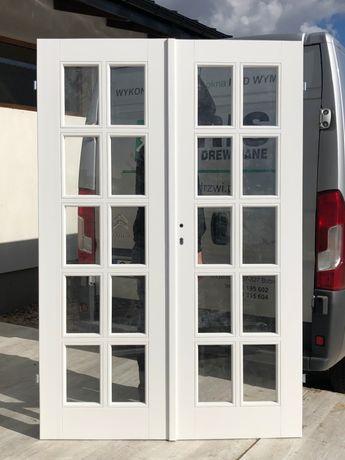 Drzwi dwuskrzydłowe OD RĘKI drewniane białe SOSNOWE