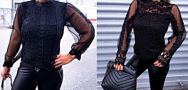 Czarna bluzka tiul koronka oversize 2 modele