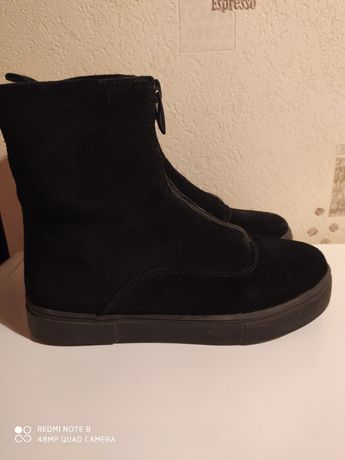 Замшевые зимние ботинки 33 рр/21.5см-970грн