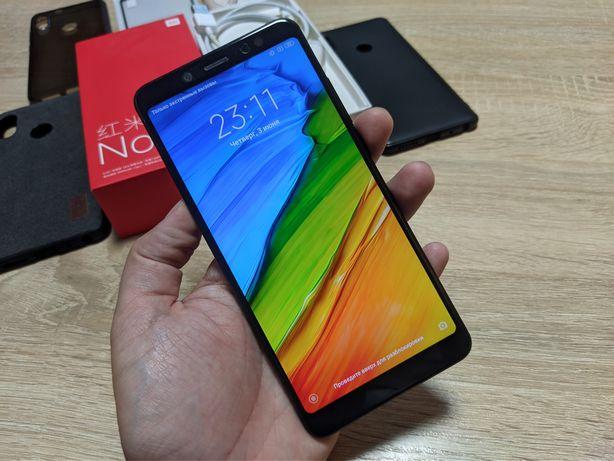 Xiaomi Redmi Note 5 3/32GB Black в идеале + 4 чехла и стекло в подарок