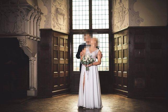 Suknia ślubna z muślinem