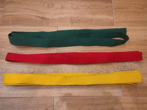 Пояс для кимоно желтый, зеленый, красный