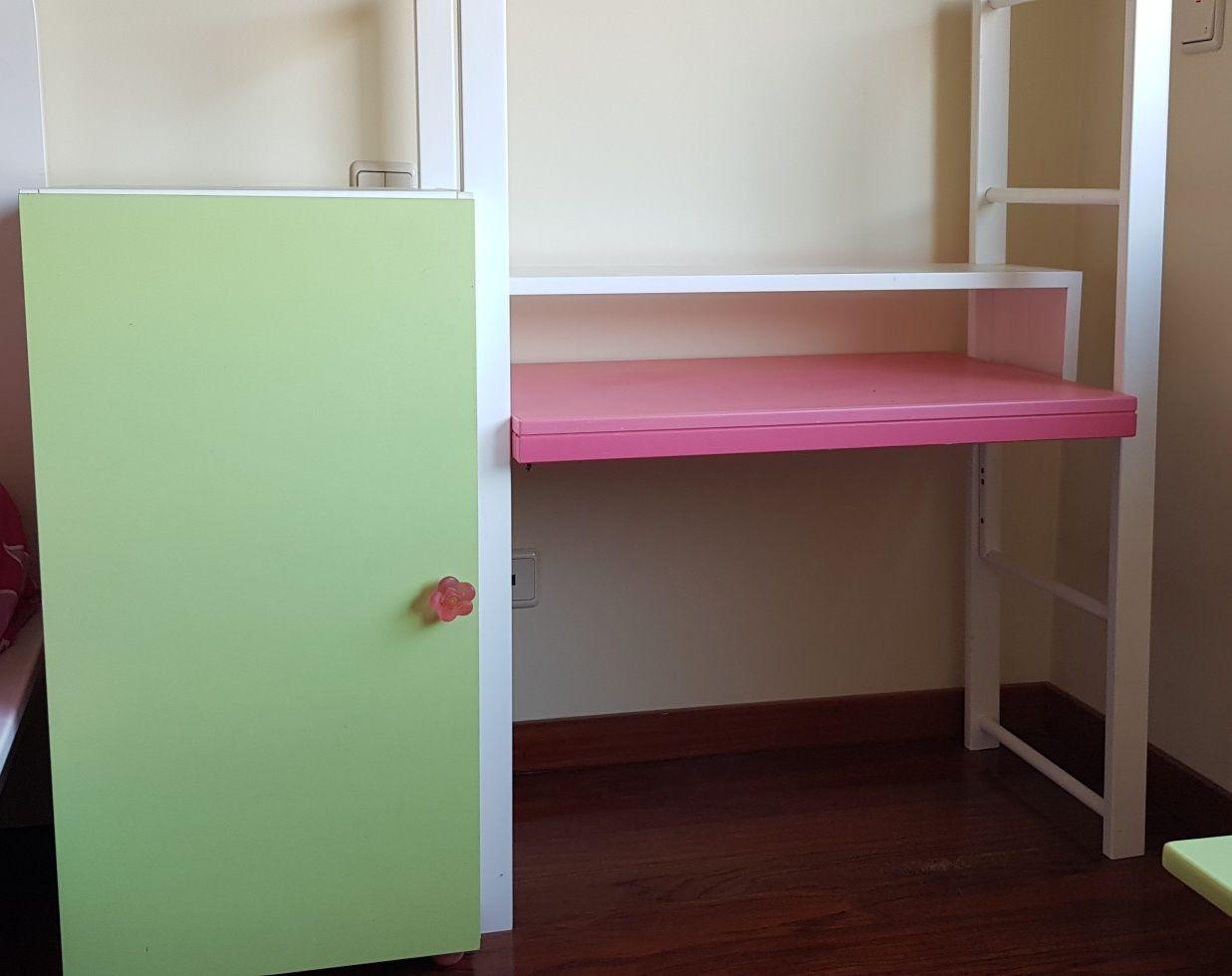 Secretaria com armário para criança em Branco Verde e Rosa