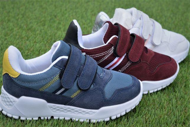 Кроссовки детские на липучках Adidas адидас Nike найк белые синий 31-3
