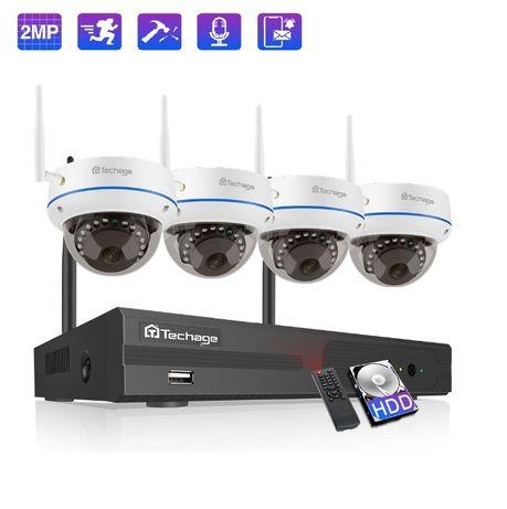 Kit Vídeo Vigilância WIFI Profissional 4 Cameras DOME Exterior 1080P