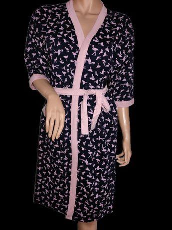 Szlafrok damski ciążowy M L XL flamingi