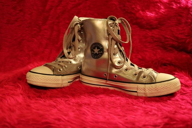 Converse oryginalne srebrne trampki roz. 35.