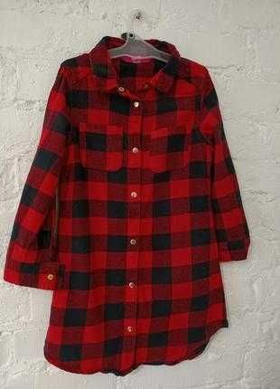Клетчатая туника рубашка H&M девочке 10-12 лет.
